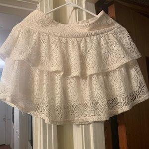Selena Gomez cream lace ruffled mini skirt... M